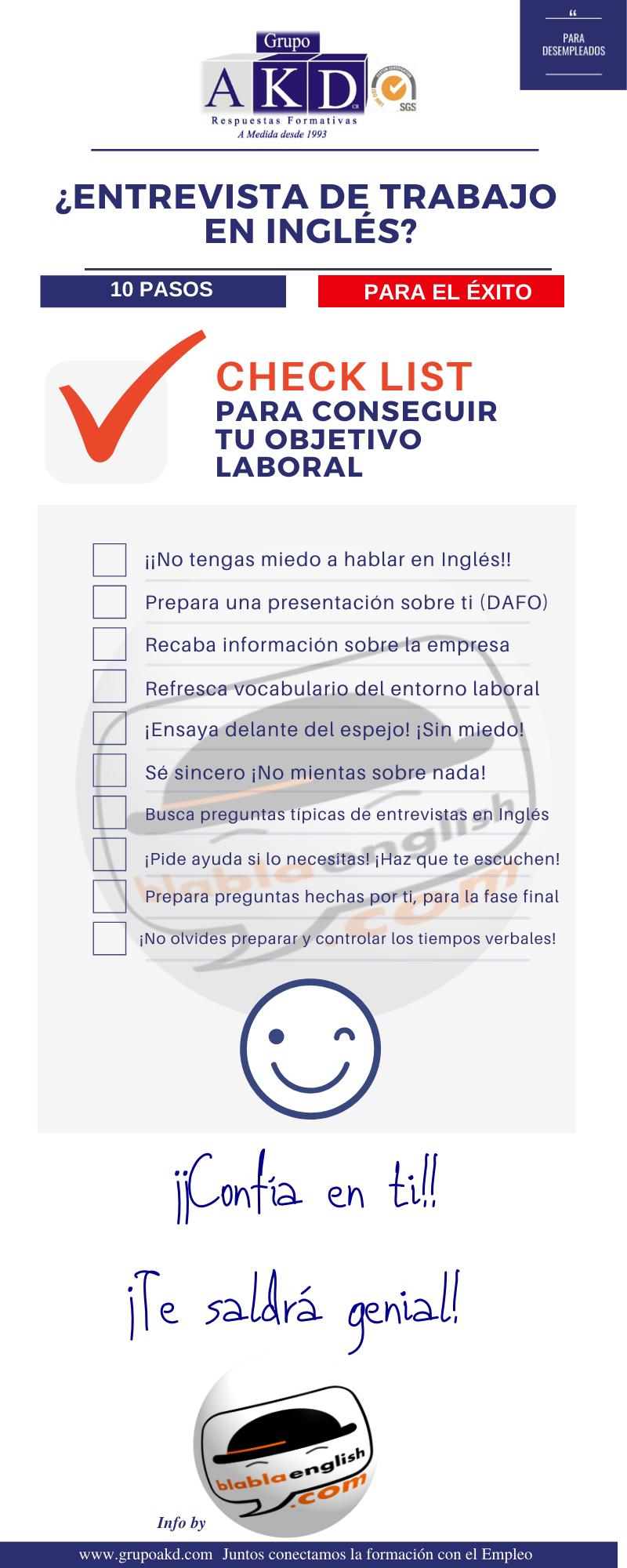 Consejos de entrevista en Inglés